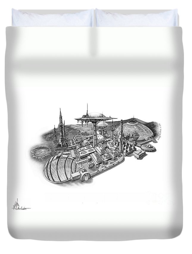 Pencil Illustration Duvet Cover featuring the drawing Pluto City by Murphy Elliott