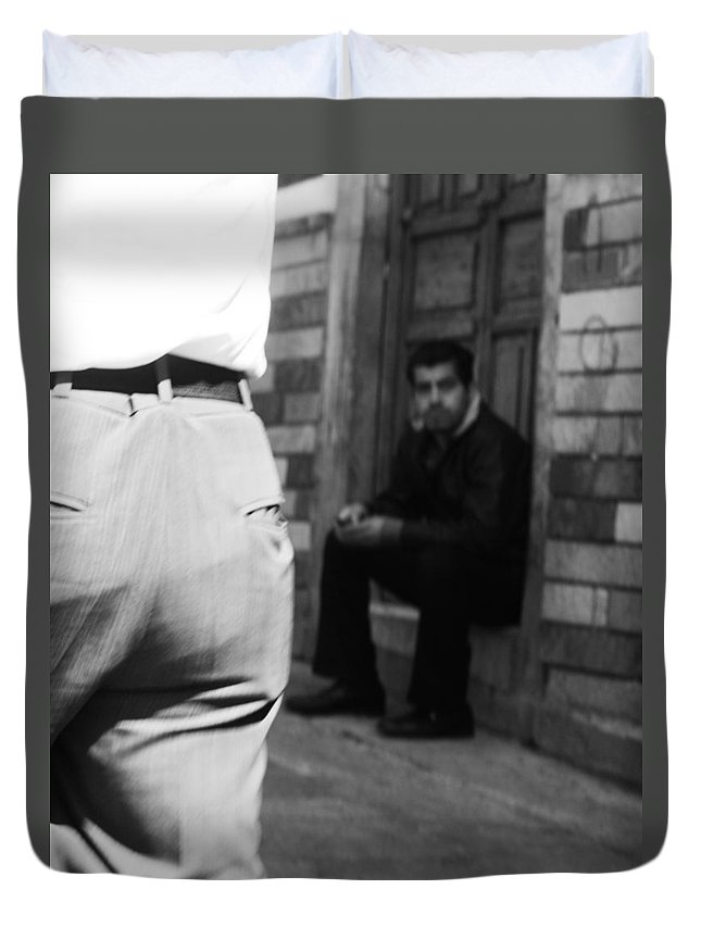 Street Photography Duvet Cover featuring the photograph Pocket Change by The Artist Project