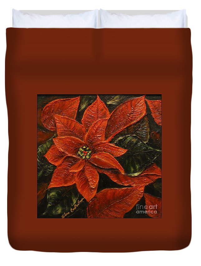 Poinsettia Duvet Cover featuring the painting Poinsettia 2 by Elena Constantinescu