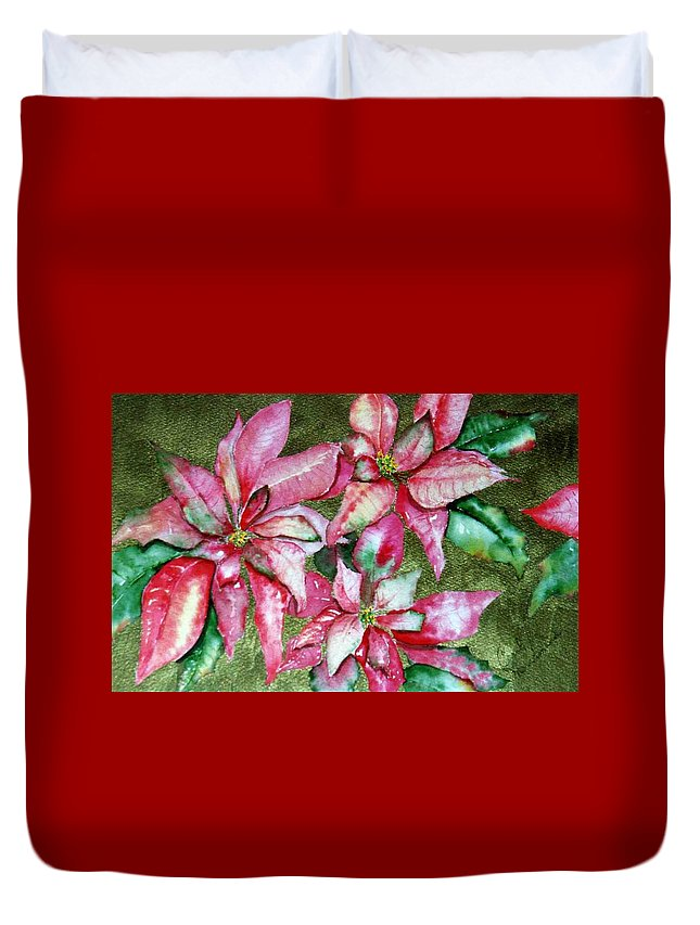 Christmas Duvet Cover featuring the painting Poinsettia by Carol Lindquist