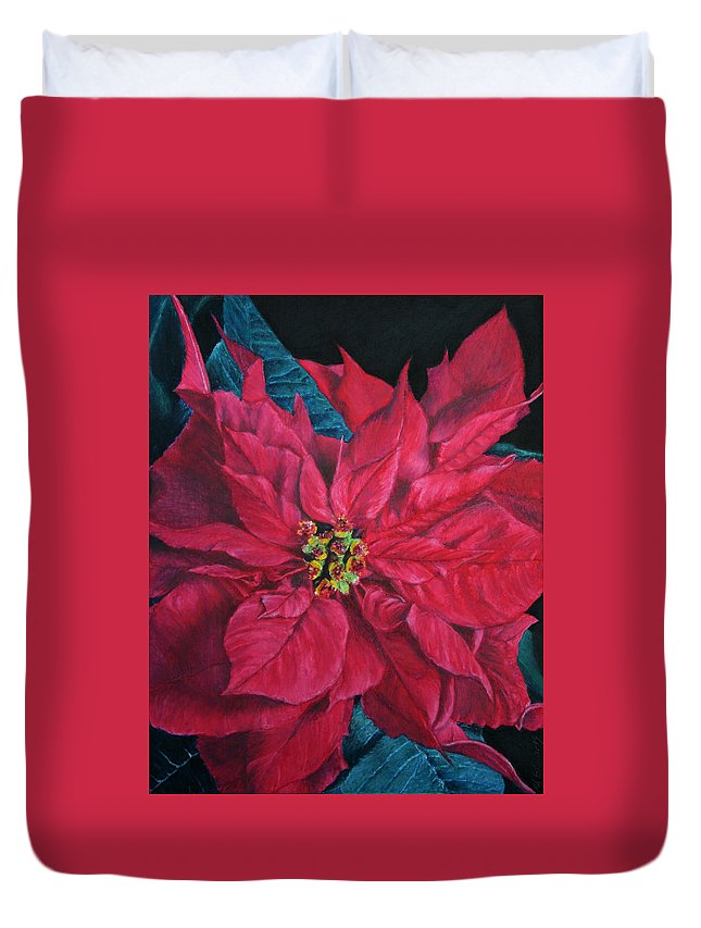 Poinsettia Duvet Cover featuring the painting Poinsettia II Painting by Marna Edwards Flavell