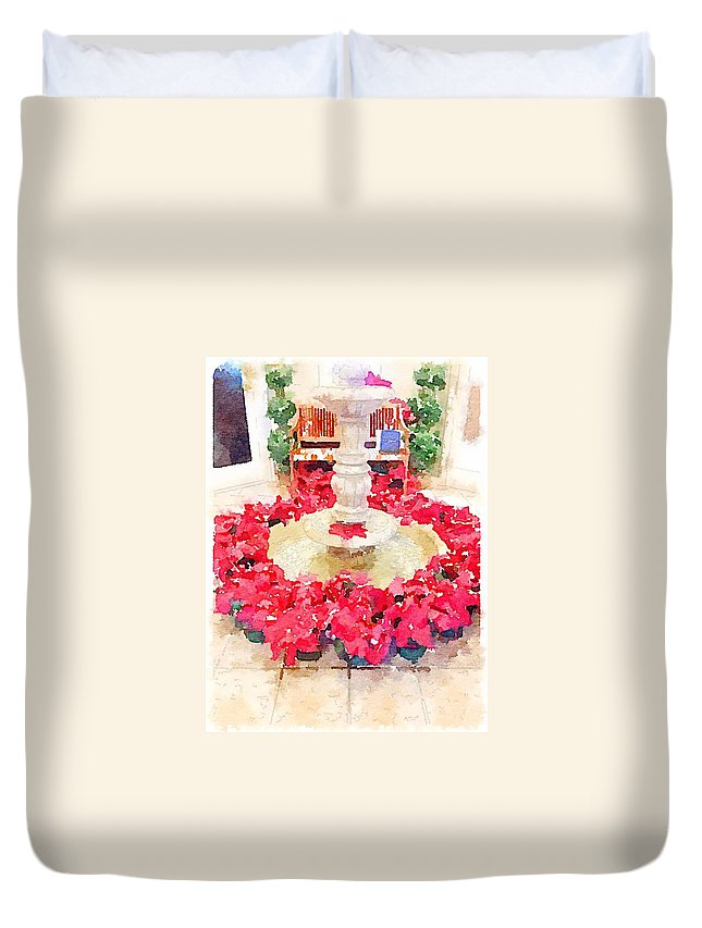 Waterlogue Duvet Cover featuring the digital art Poinsettias by Shannon Grissom