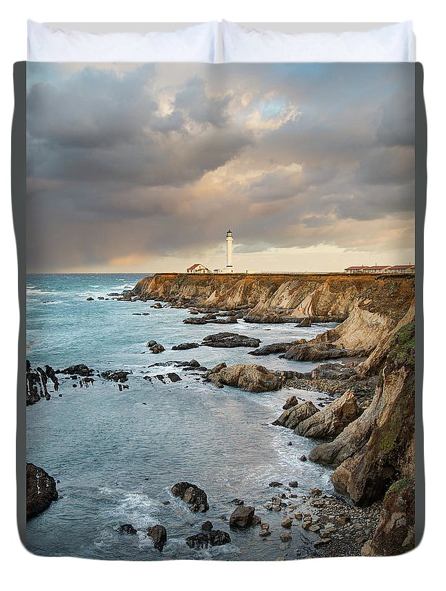 Headland Duvet Cover featuring the photograph Point Arena Headland And Lighthouse by Kjschoen