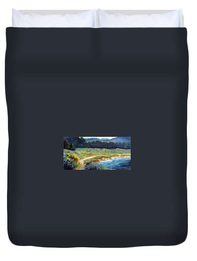 Point Lobos Duvet Cover featuring the painting Point Lobos Trail by Karin Leonard