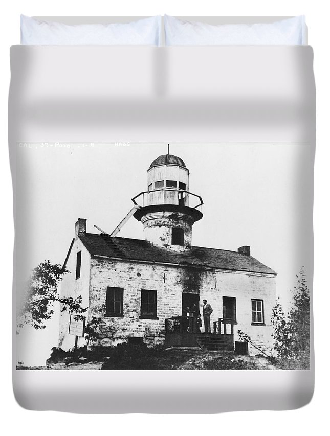 Point Duvet Cover featuring the photograph Point Loma Lighthouse by Jerry McElroy - Public Domain Image