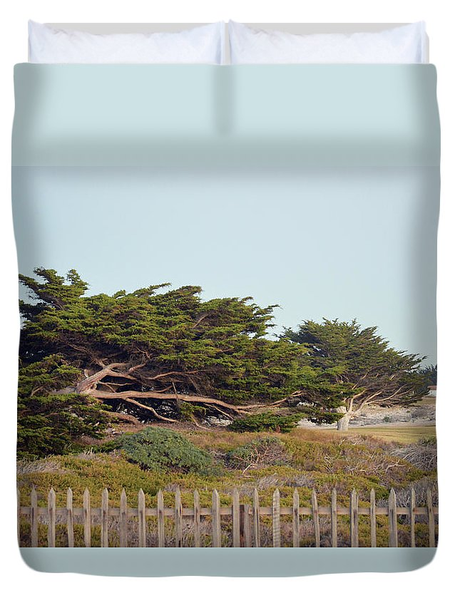 Point Pinos Lighthouse Pacific Grove California Duvet Cover featuring the photograph Point Pinos Lighthouse Pacific Grove California by Barbara Snyder