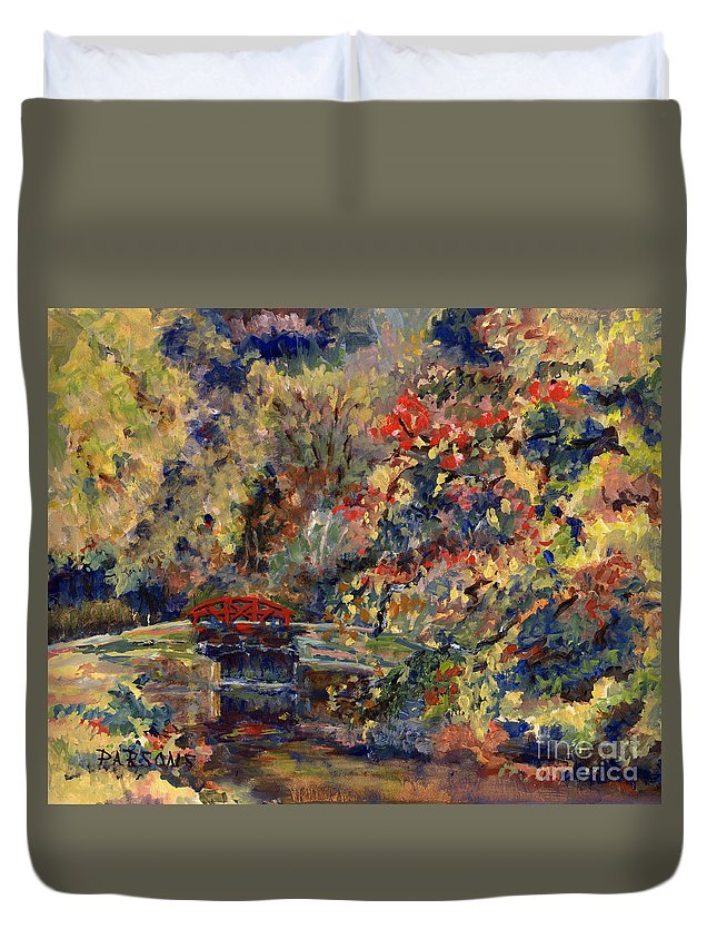 Point Pleasant Lock Duvet Cover featuring the painting Point Pleasant Lock In Bucks County by Pamela Parsons