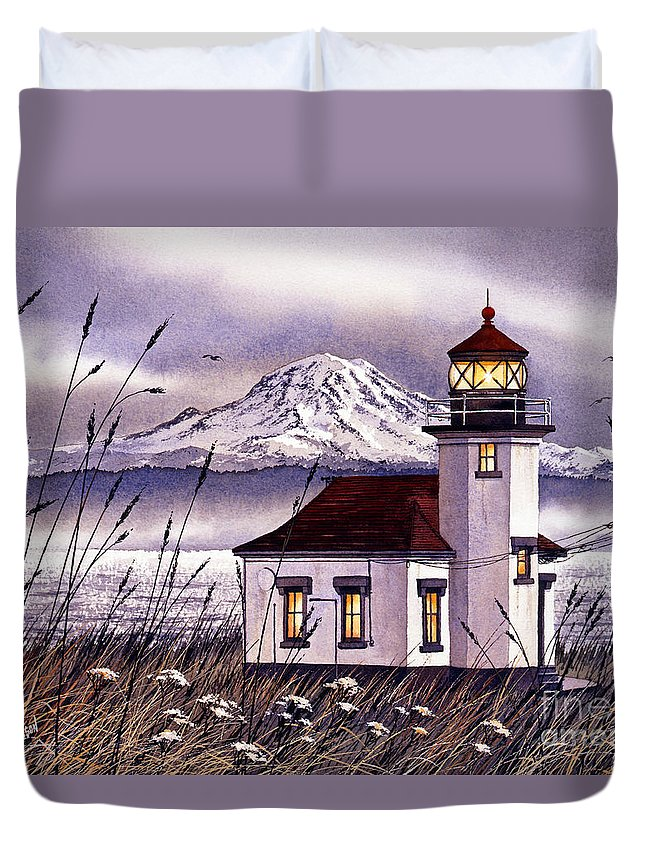 Lighthouse Fine Art Print Duvet Cover featuring the painting Point Robinson Lighthouse by James Williamson