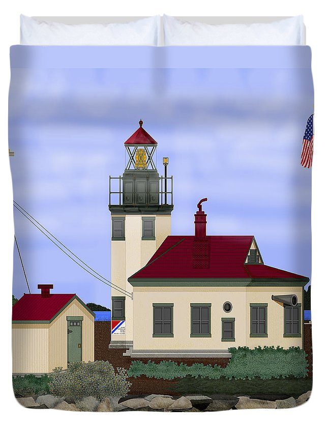 Point Robinson Lighthouse Duvet Cover featuring the painting Point Robinson With Shoreline Detail 2013 by Anne Norskog