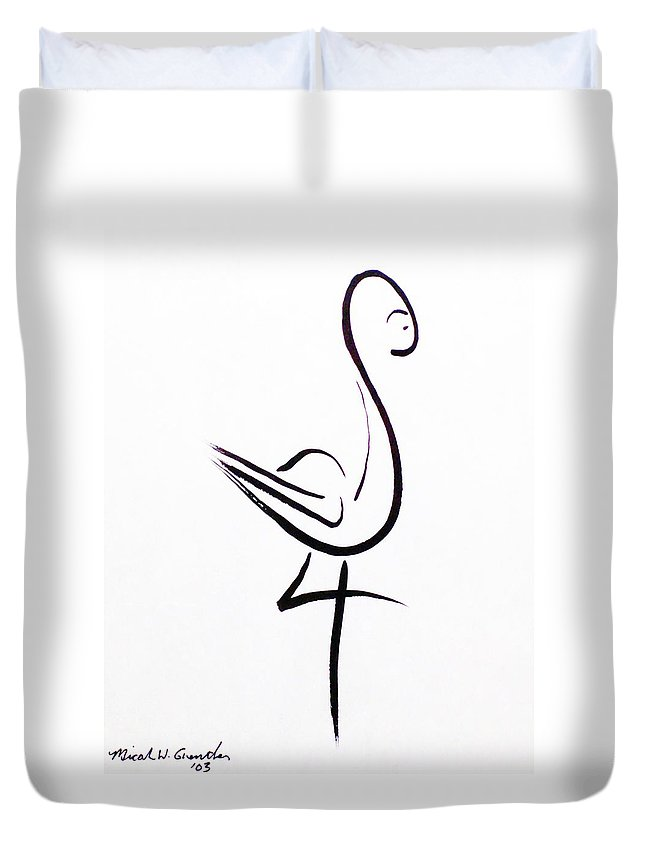 Abstract Duvet Cover featuring the drawing Poise by Micah Guenther
