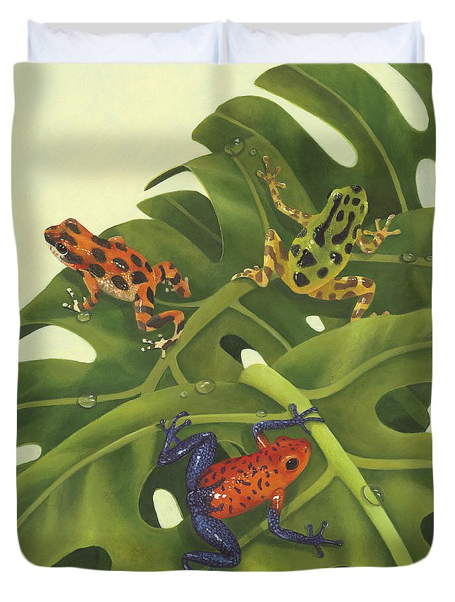 Green Tree Frogs Paintings Duvet Covers