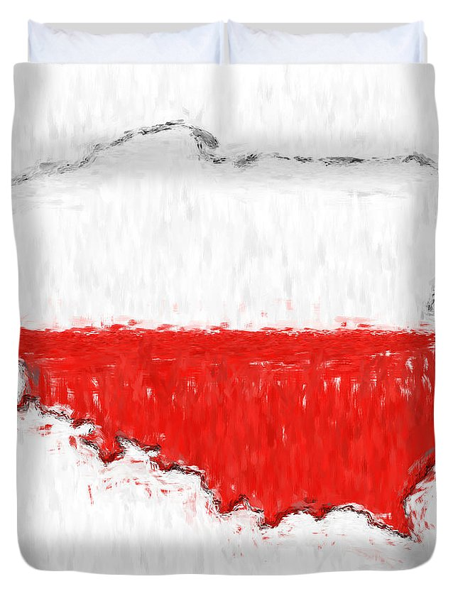 Poland Duvet Cover featuring the photograph Poland Painted Flag Map by Antony McAulay