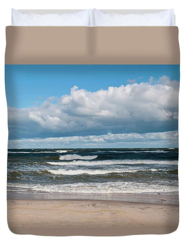 Water's Edge Duvet Cover featuring the photograph Poland, View Of Baltic Sea In Autumn At by Westend61