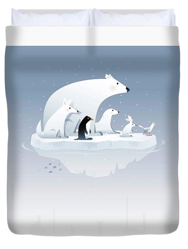 Arctic Fox Duvet Cover featuring the digital art Polar Bear And Friends by Id-work