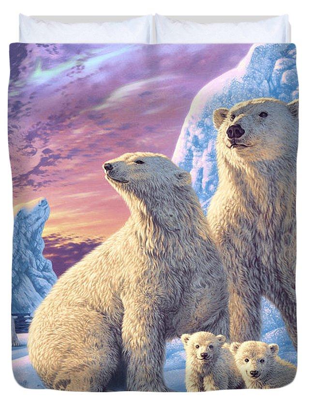 Sunset Duvet Cover featuring the digital art Polar Bear Family by Steve Read