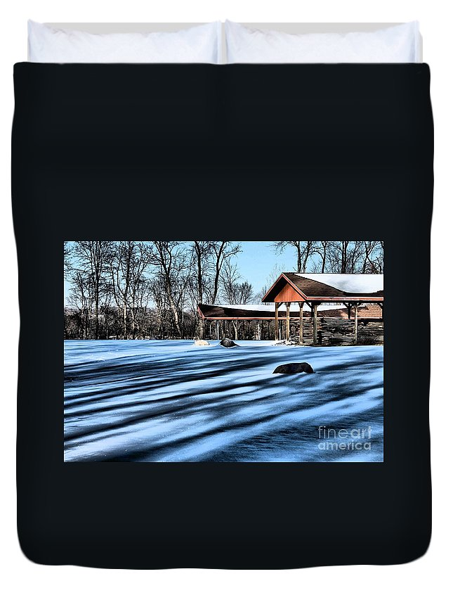 Pole Barn Duvet Cover featuring the photograph Pole Barns In The Winter by Samantha Glaze