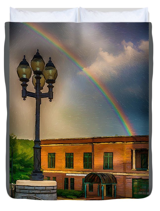 America Duvet Cover featuring the painting Police At The End Of The Rainbow by John Haldane