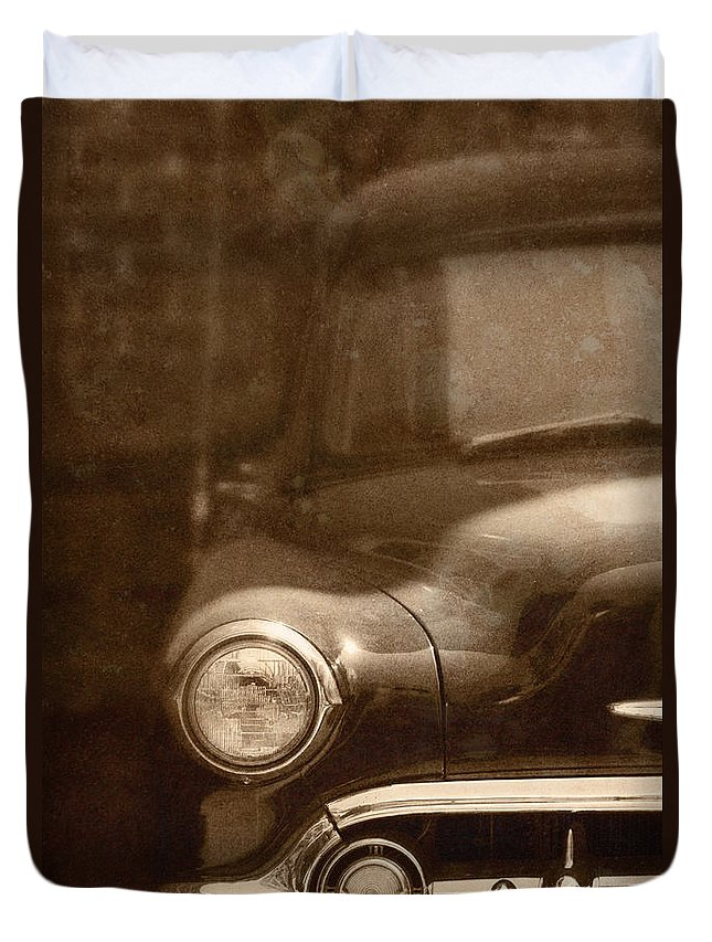 Antique; Car; Windows; Driving; Auto; Automobile; Automotive; Classic; Drive; Old; Front; Fender; Transportation; Vehicle; Vintage; Sepia; Headlight; Chrome; Hood; Chevy; Chevrolet Duvet Cover featuring the photograph Police by Margie Hurwich