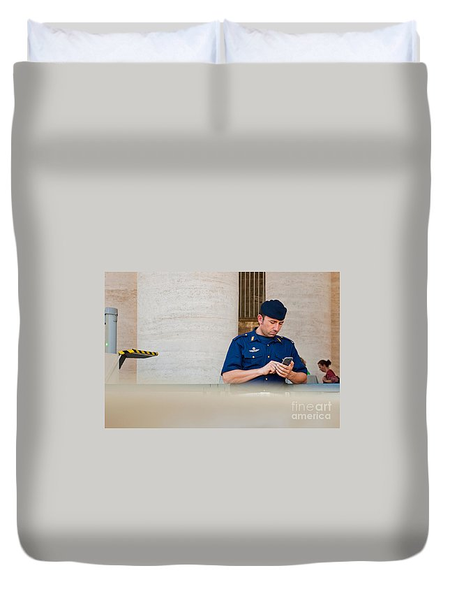 Police Duvet Cover featuring the photograph Policeman At St. Peter's Basilica by Luis Alvarenga