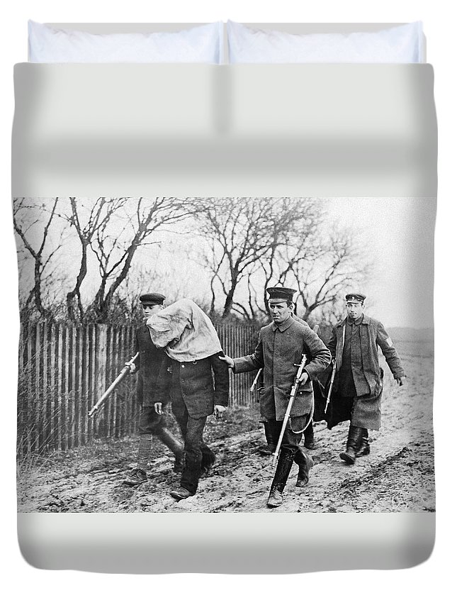 1910's Duvet Cover featuring the photograph Polish Man Arrested By Germans by Underwood Archives