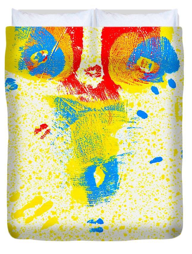 Nude Paintings Paintings Duvet Cover featuring the painting Polka Dot Bikini by Mayhem Mediums