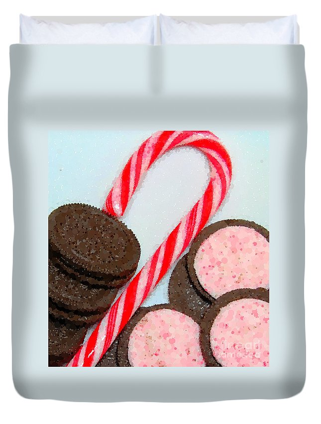 Polka Dot Candy Cane Cookies Duvet Cover featuring the photograph Polka Dot Candy Cane Cookies by Barbara Griffin