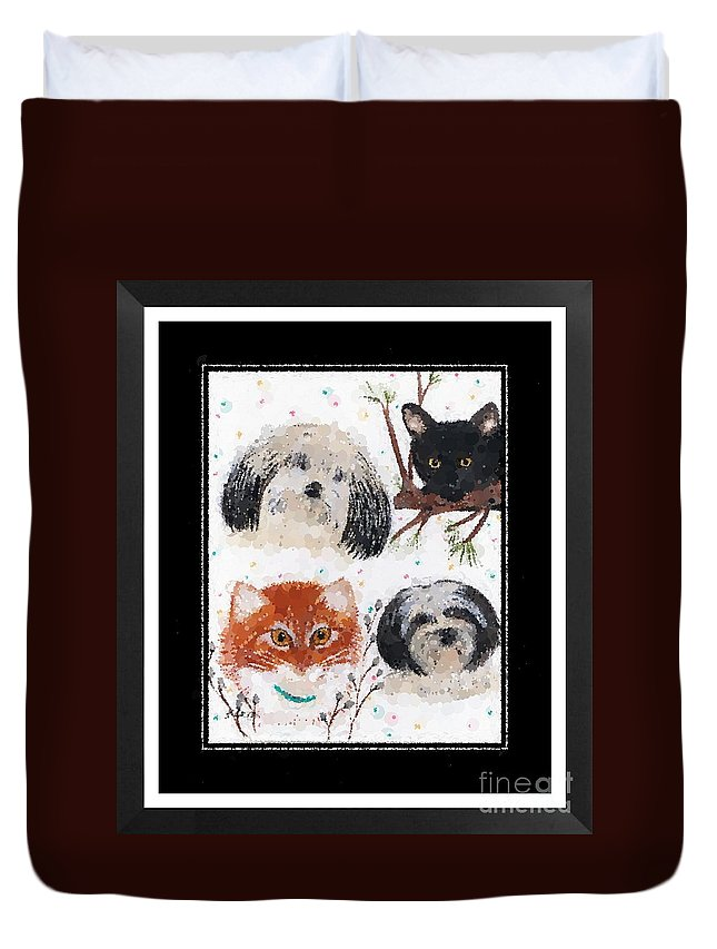 Polka Dot Family Pets With Borders Whimsical Art Duvet Cover featuring the photograph Polka Dot Family Pets With Borders - Whimsical Art by Barbara Griffin