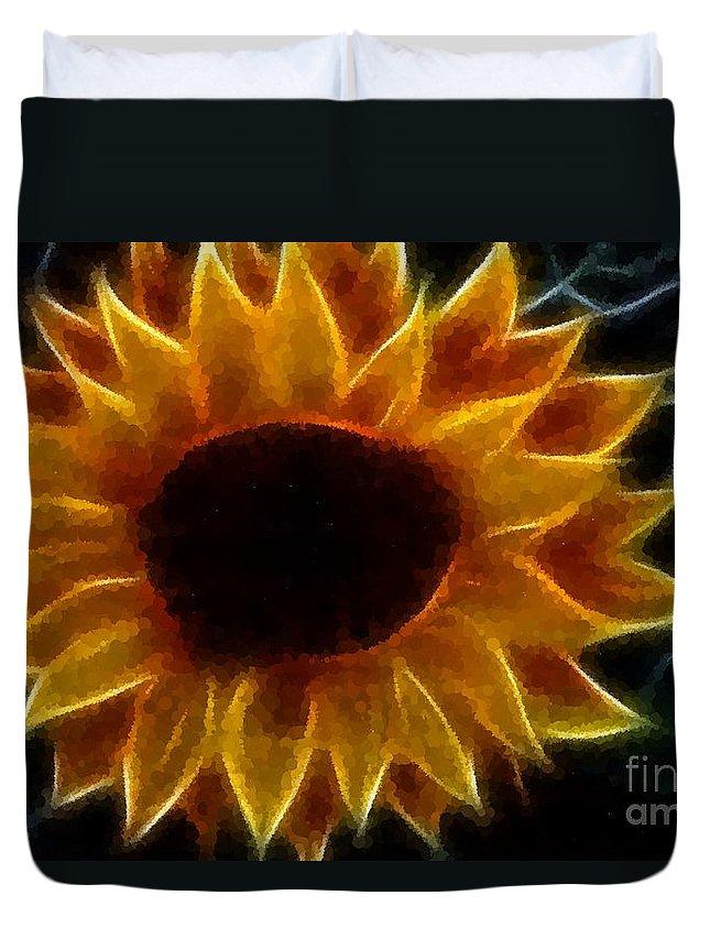 Polka Dot Glowing Sunflower Duvet Cover featuring the photograph Polka Dot Glowing Sunflower by Barbara Griffin