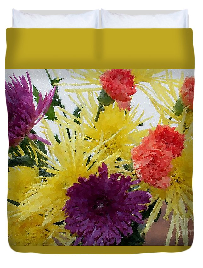 Polka Dot Mums And Carnations Duvet Cover featuring the photograph Polka Dot Mums And Carnations by Barbara Griffin