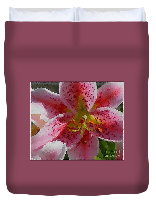 Polka Dot Pink Stargazer Lily Duvet Cover featuring the photograph Polka Dot Pink Stargazer Lily by Barbara Griffin