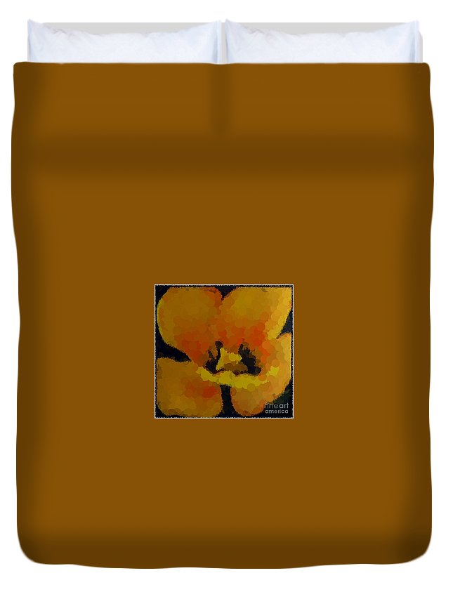 Polka Dot Yellow Blooming Tulip Duvet Cover featuring the digital art Polka Dot Yellow Blooming Tulip by Barbara Griffin
