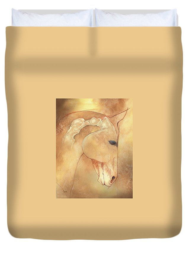 Atlas Duvet Cover featuring the painting Poll Meet Atlas Axis by Catherine Twomey