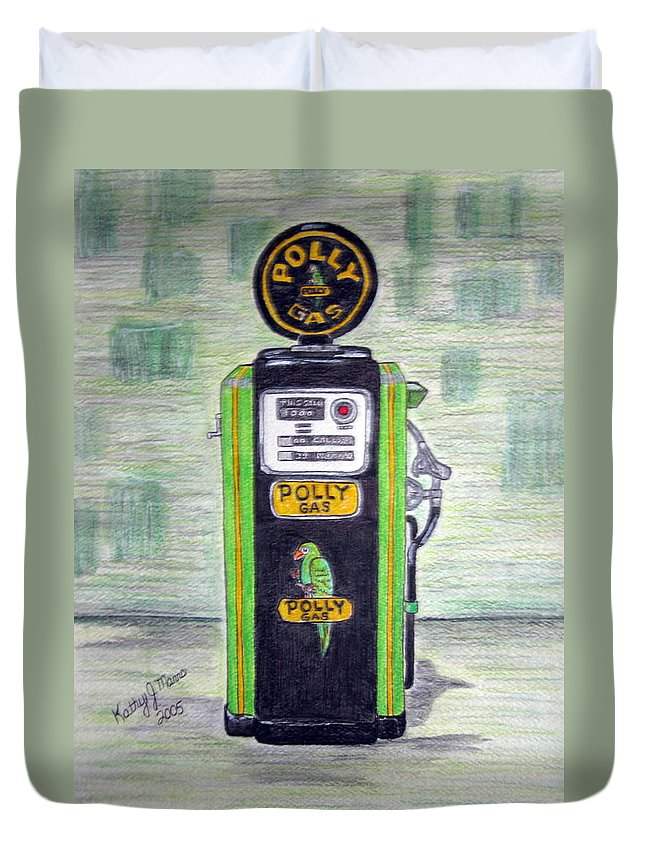 Parrot Duvet Cover featuring the painting Polly Gas Pump by Kathy Marrs Chandler