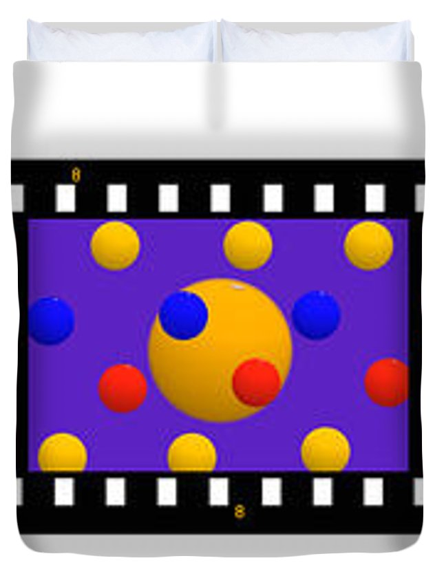 Contact Print Duvet Cover featuring the painting Polychrome Fun by Charles Stuart