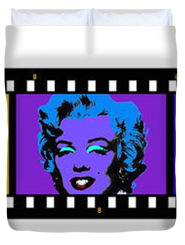 Marilyn Monroe Art Duvet Cover featuring the painting Polychrome Pop by Charles Stuart
