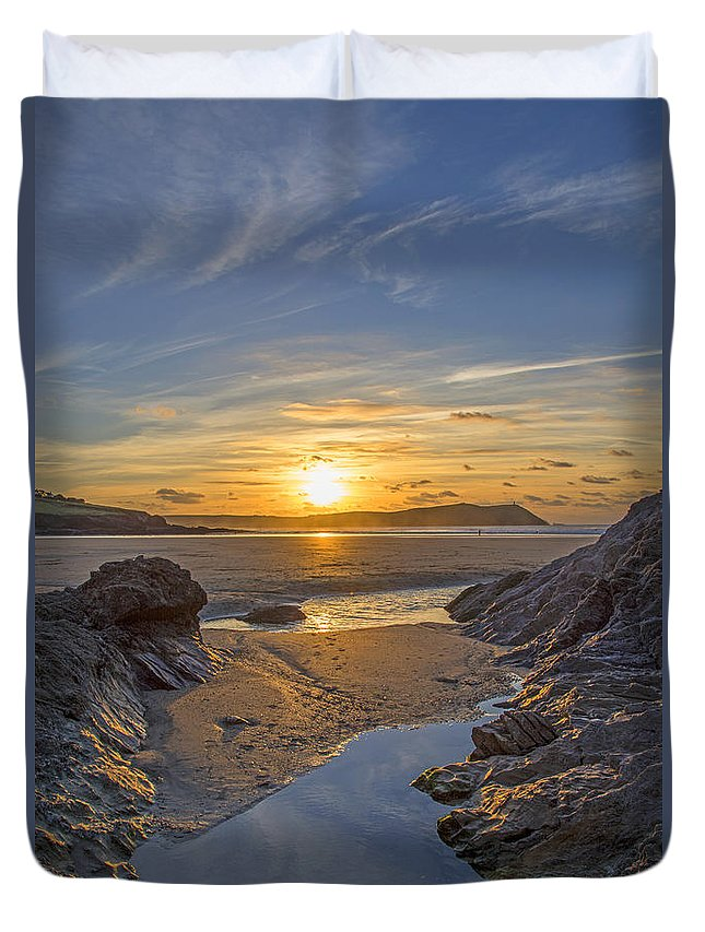 Cornwall Prints Duvet Cover featuring the photograph Polzeath Sunset by Chris Thaxter