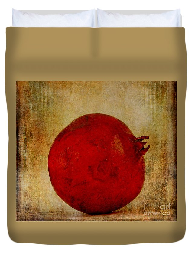 Kitchen Art Duvet Cover featuring the photograph Pomegranate by Jacklyn Duryea Fraizer