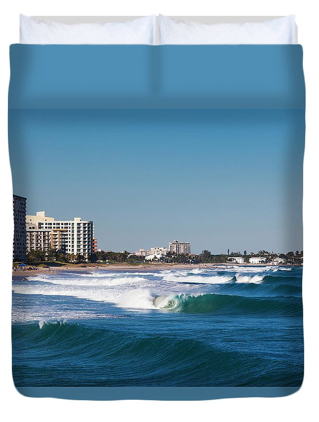 Tranquility Duvet Cover featuring the photograph Pompano Beach, Florida, Exterior View by Walter Bibikow