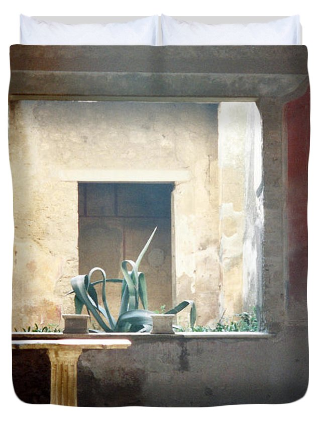 Pompeii Duvet Cover featuring the photograph Pompeii Courtyard by Marna Edwards Flavell