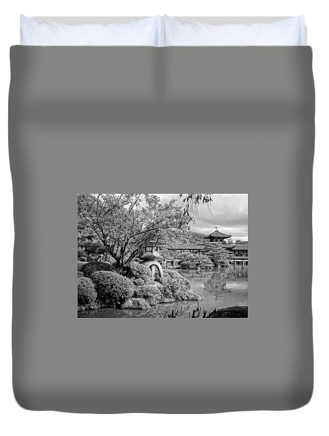 Lantern Duvet Cover featuring the photograph Pond At Heian Shrine - Kyoto by Daniel Hagerman