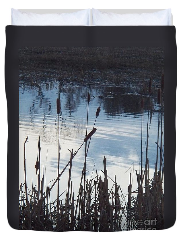 Landscape Duvet Cover featuring the photograph Pond At Twilight by Eric Schiabor