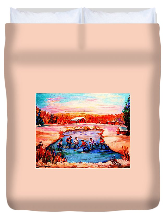 Pond Hockey Duvet Cover featuring the painting Pond Hockey Game By Montreal Hockey Artist Carole Spandau by Carole Spandau