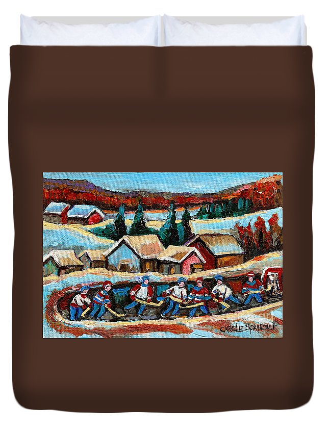 Pond Hockey Game In The Country Duvet Cover featuring the painting Pond Hockey Game In The Country by Carole Spandau