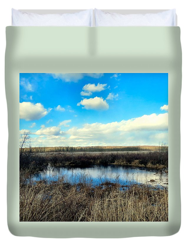 Nature Duvet Cover featuring the photograph Pond Hole by Art Dingo