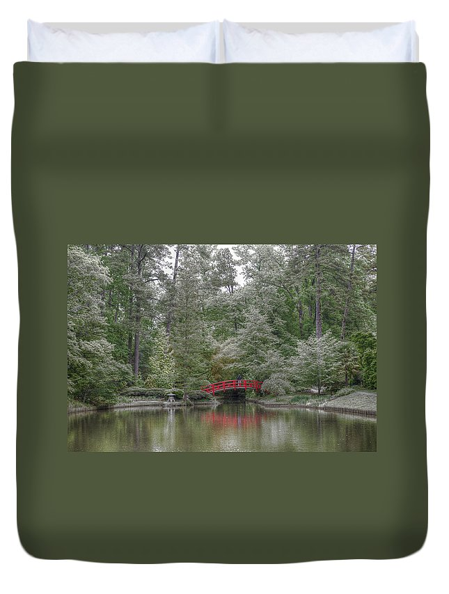 Pond Duvet Cover featuring the photograph Pond Of Green Trees by Diego Re