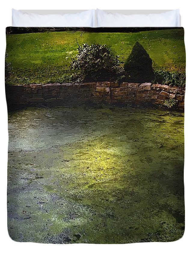 Pond Duvet Cover featuring the painting Pondshine by RC DeWinter