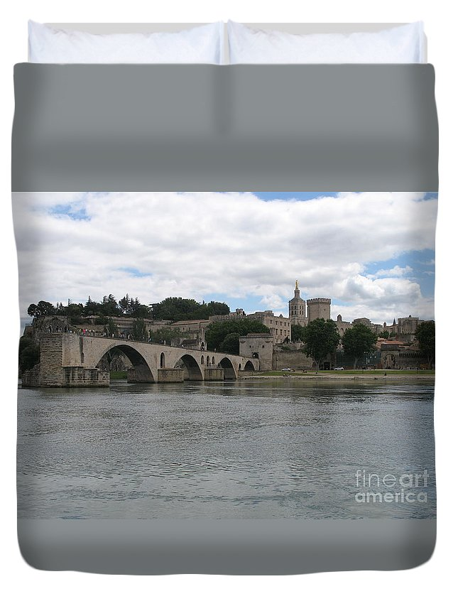 Bridge Duvet Cover featuring the photograph Pont Saint Benezet And Pope Palace by Christiane Schulze Art And Photography