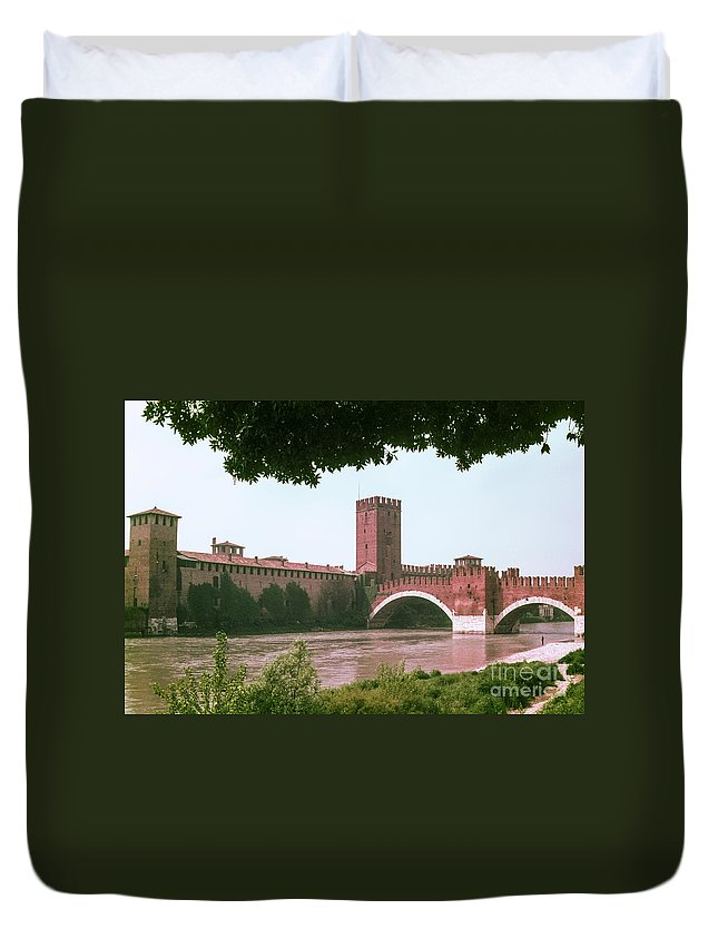 Pont Scaligero Adige River Verona Rivers Bridge Bridges Structure Structures Building Buildings Architecture City Cities Cityscape Cityscapes Italy Water Waterscape Waterscapes Duvet Cover featuring the photograph Pont Scaligero On Adige River by Bob Phillips