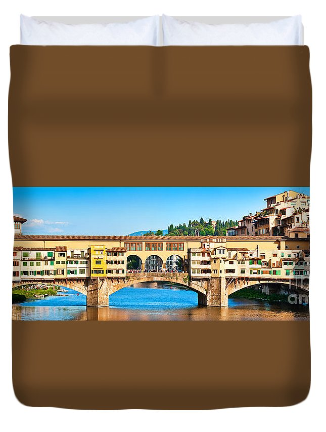 Ancient Duvet Cover featuring the photograph Ponte Vecchio In Florence by JR Photography