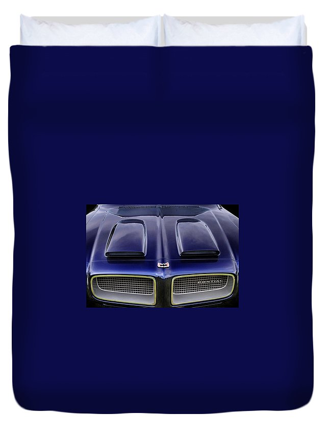 Pontiac Duvet Cover featuring the photograph Pontiac Hood by Dave Mills